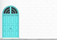 与白色砖的减速火箭的蓝色门阻拦拷贝空间的墙壁 免版税库存图片
