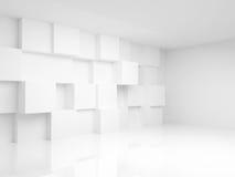 与白色立方体的抽象空的3d内部 库存图片