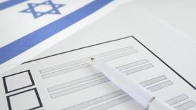 与白色笔的投票的选票在以色列 影视素材