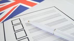 与白色笔的投票的选票在英国 股票录像