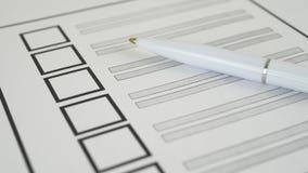 与白色笔的投票的选票 股票录像