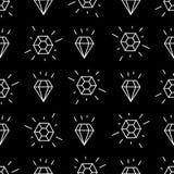 与白色线性金刚石的几何无缝的样式 简单的动画片金刚石样式 免版税图库摄影