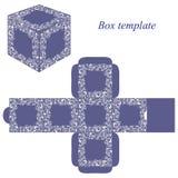 与白色花卉元素的蓝色框模板 免版税图库摄影