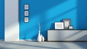 与白色花瓶和空白的图片的蓝色空的内部 免版税库存图片