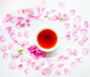 与白色茶的Flatlay、桃红色玫瑰、玫瑰花瓣和糖 免版税库存照片