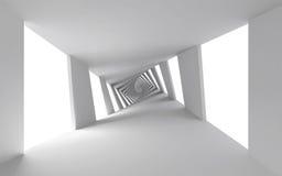 与白色螺旋走廊的抽象3d背景 图库摄影