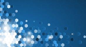 与白色边界横幅的抽象蓝色六角形背景 免版税库存照片