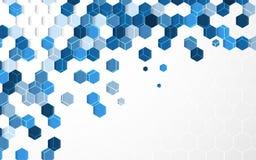 与白色边界的抽象浅兰的六角形背景 免版税库存照片
