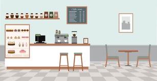 与白色酒吧柜台、桌和椅子的咖啡店 向量例证