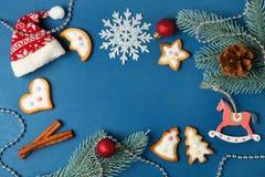 与白色釉的圣诞节曲奇饼 免版税库存照片