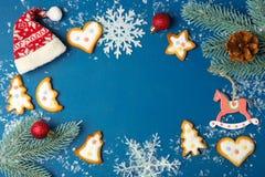 与白色釉的圣诞节曲奇饼 库存照片