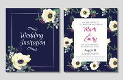 与白色银莲花属的婚礼邀请卡片模板花卉新娘花圈花束开花,玉树分支,狂放 库存例证