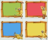与白色长臂猿的横幅设计 向量例证