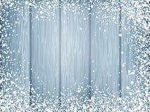 与白色雪的蓝色木纹理 10 eps 免版税图库摄影