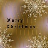 与白色雪花和波浪线的圣诞快乐明信片 免版税库存照片