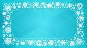 与白色雪花的传染媒介框架 库存照片