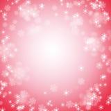 与白色雪花的方形的红色背景 库存照片