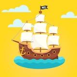 与白色风帆和黑短桨旗子的海盗船 免版税库存照片