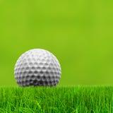 与白色高尔夫球的绿色3d概念性草背景 免版税库存照片