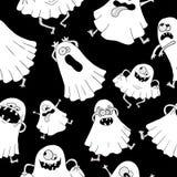 与白色鬼魂的无缝的背景 免版税库存照片