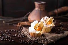 与白色黄油奶油的巧克力杯形蛋糕,装饰用在黑暗的木背景的酸浆 装饰用stic的桂香 图库摄影