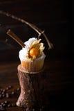 与白色黄油奶油的巧克力杯形蛋糕,装饰用在黑暗的木背景的酸浆 装饰用stic的桂香 免版税图库摄影