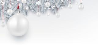 与白色3d圣诞节球的背景 库存例证