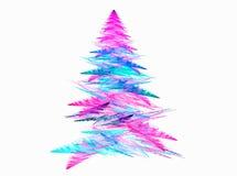 与白色backgound的抽象分数维圣诞树 图库摄影