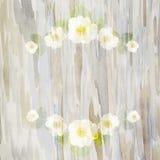 与白花和叶子的框架狂放在水彩b上升了 免版税库存照片