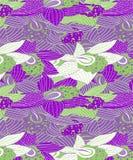 与白花样式的绿色和紫色兰花 库存例证