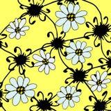 与白花的图解抽象背景 免版税图库摄影