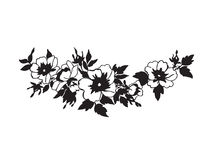 与白花的美好的进展的狂放的玫瑰色分支 图库摄影