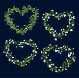 与白花的花卉心脏框架 免版税库存照片
