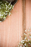 与白花的背景,古色古香的盘 免版税库存图片