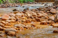 与白陶土的被污染的小河 免版税库存图片