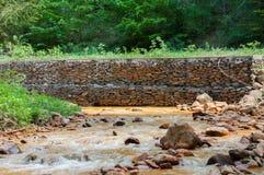 与白陶土的被污染的小河 免版税图库摄影