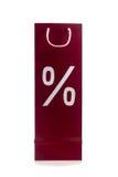 与百分之标志的购物袋 免版税图库摄影