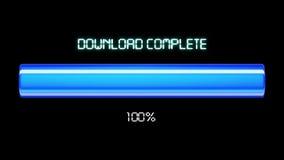 与百分比的下载的和上载的处理动画 蓝色颜色 HD 1080 库存例证
