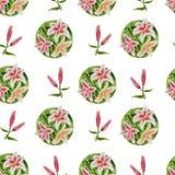 与百合的花卉样式 免版税库存照片
