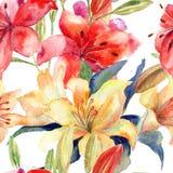与百合花的无缝的墙纸 库存照片