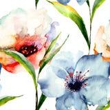 与百合花的无缝的墙纸 图库摄影