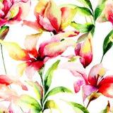 与百合花的无缝的样式 库存照片