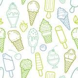 与的传染媒介逗人喜爱的石灰无缝的样式冰淇凌 免版税库存照片