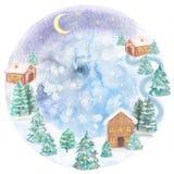 与的冬天风景房子和冷杉、水彩和淡色p 皇族释放例证