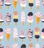 与的手拉的美味的无缝的样式冰淇凌 夏天设计 库存例证