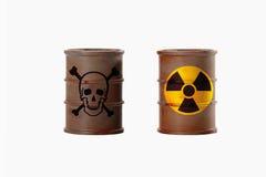 与的标志的桶骷髅图和放射线  库存照片