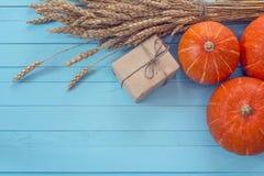 与的背景麦子的南瓜和耳朵在蓝色木bo的 免版税库存图片