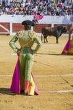 与的西班牙斗牛士塞巴斯蒂安Castella斗牛 库存图片