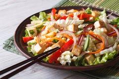 与的豆腐和水平的新鲜蔬菜的饮食沙拉 免版税库存图片