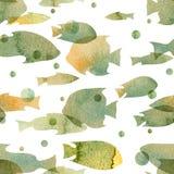 与的鱼,在白色背景的茶黄树荫剪影的图象的水彩样式青灰色  免版税库存图片
